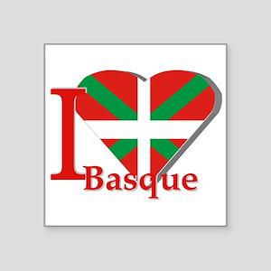 "I love Basque Square Sticker 3"" x 3"""