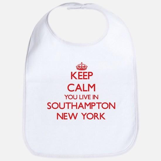 Keep calm you live in Southampton New York Bib
