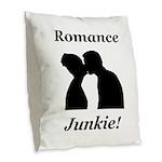 Romance Junkie Burlap Throw Pillow