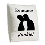 Romance Junkie Burlap Throw Pillow