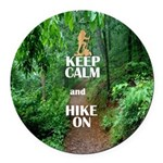 Keep Calm and Hike On Round Car Magnet