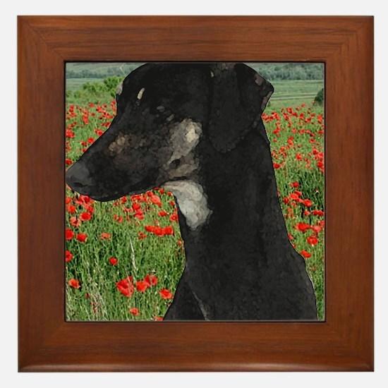 Sloughi in Red Poppy Field Framed Tile