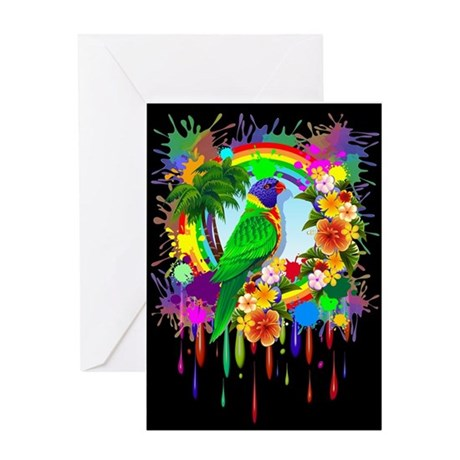 Rainbow Lorikeet Parrot Art Greeting Cards
