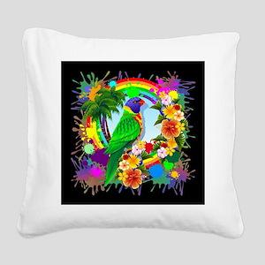 Rainbow Lorikeet Parrot Art Square Canvas Pillow