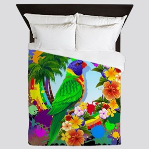 Rainbow Lorikeet Parrot Art Queen Duvet