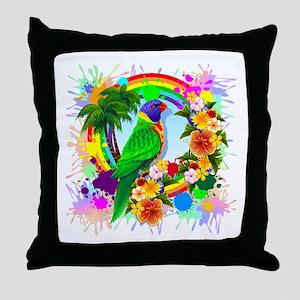Rainbow Lorikeet Parrot Art Throw Pillow