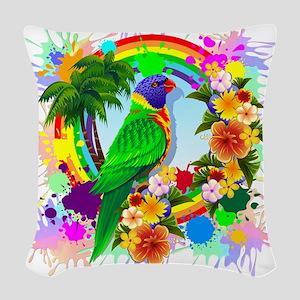 Rainbow Lorikeet Parrot Art Woven Throw Pillow