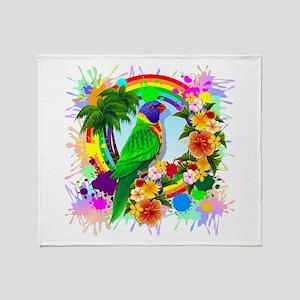 Rainbow Lorikeet Parrot Art Throw Blanket
