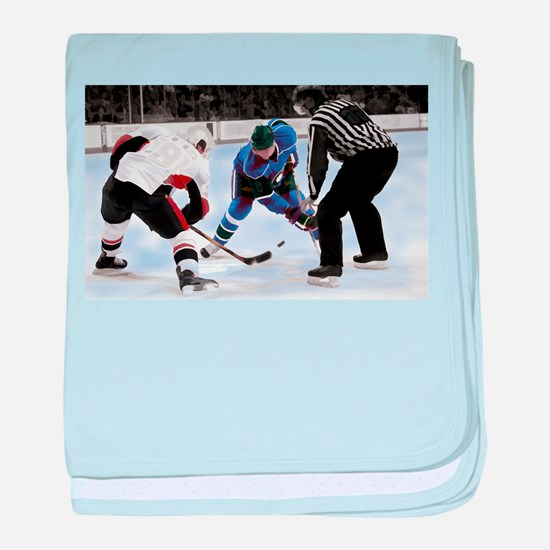 Ice Hockey Players and Referee baby blanket