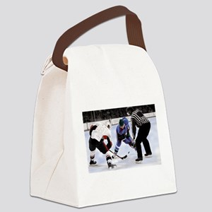 Ice Hockey Players and Referee Canvas Lunch Bag