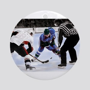 Ice Hockey Players and Referee Ornament (Round)