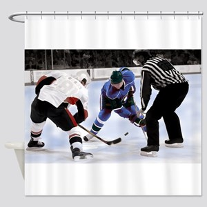 Ice Hockey Players and Referee Shower Curtain