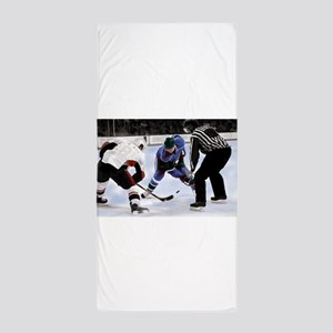 Ice Hockey Players and Referee Beach Towel
