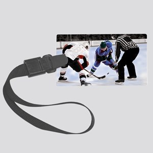 Ice Hockey Players and Referee Large Luggage Tag
