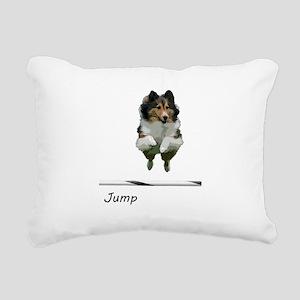 Sheltie Jump Rectangular Canvas Pillow