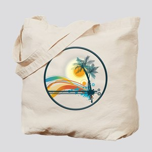 Graphic Logo of Palm Trees, Waves and Sun Tote Bag