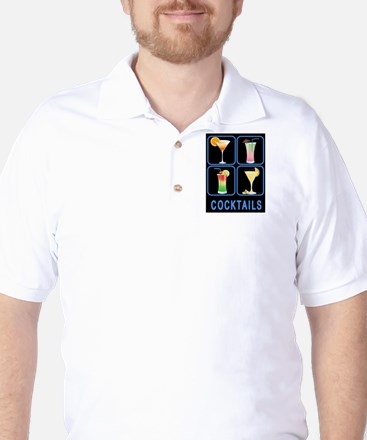 Four Cocktails in Neon Sign Golf Shirt