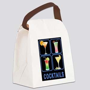 Four Cocktails in Neon Sign Canvas Lunch Bag