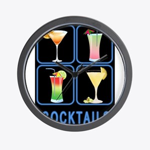 Four Cocktails in Neon Sign Wall Clock