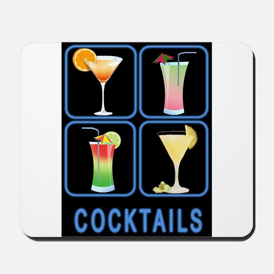 Four Cocktails in Neon Sign Mousepad