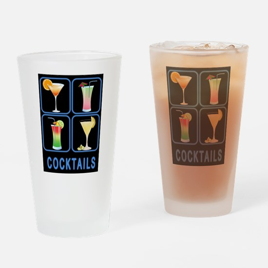Four Cocktails in Neon Sign Drinking Glass