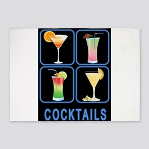 Four Cocktails in Neon Sign 5'x7'Area Rug