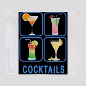 Four Cocktails in Neon Sign Throw Blanket