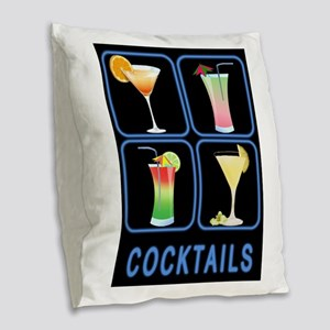 Four Cocktails in Neon Sign Burlap Throw Pillow