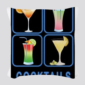 Four Cocktails in Neon Sign Woven Throw Pillow