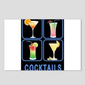 Four Cocktails in Neon Si Postcards (Package of 8)