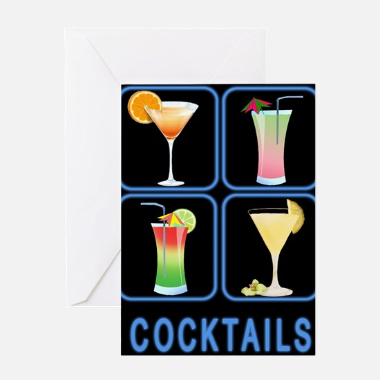 Four Cocktails in Neon Sign Greeting Cards