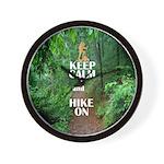 Keep Calm and Hike On Wall Clock