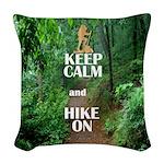 Keep Calm and Hike On Woven Throw Pillow
