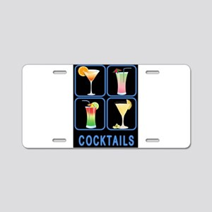 Four Cocktails in Neon Sign Aluminum License Plate