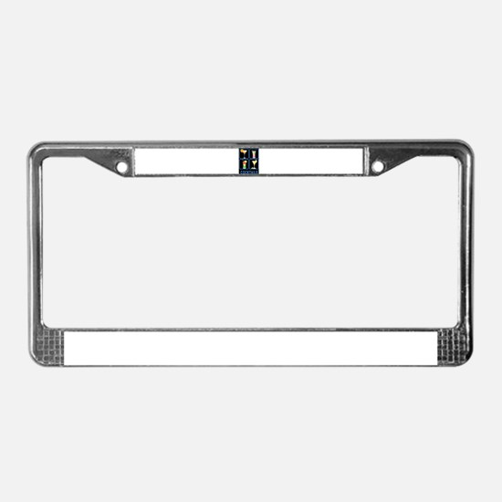 Four Cocktails in Neon Sign License Plate Frame