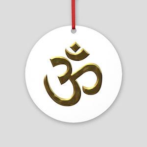 Golden Buddha Ohm Ornament (Round)