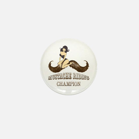 Mustache Riding Champion Mini Button