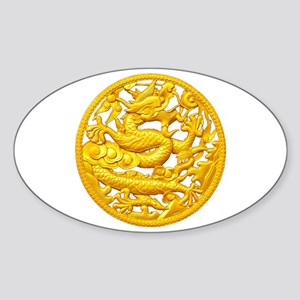 Golden Dragon Sticker (Oval)