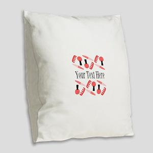 Pink Nail Salon Custom Burlap Throw Pillow