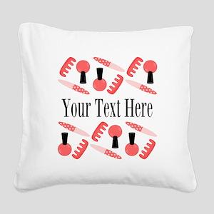 Pink Nail Salon Custom Square Canvas Pillow