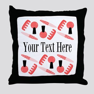 Pink Nail Salon Custom Throw Pillow