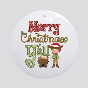 Christmas Y'all Round Ornament