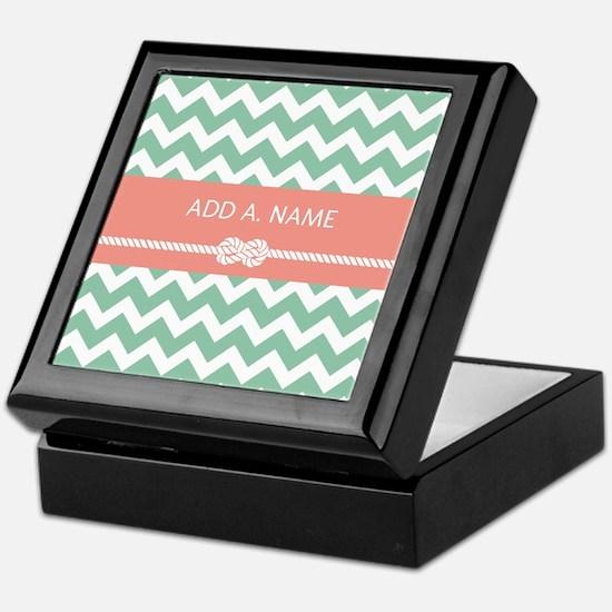 Mint Salmon Personalized Chevron Stri Keepsake Box