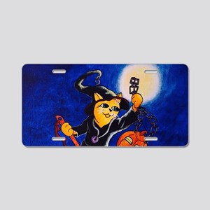 Night Witch Cat Aluminum License Plate