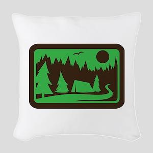 CAMPING Woven Throw Pillow