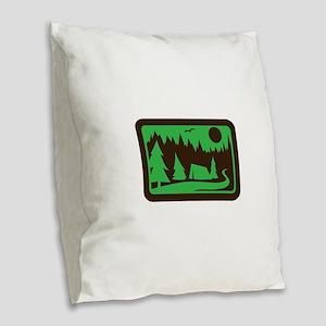 CAMPING Burlap Throw Pillow
