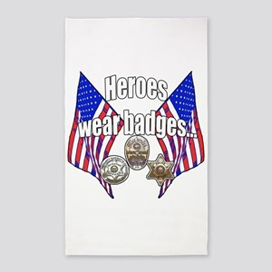 Heroes wear badges Area Rug