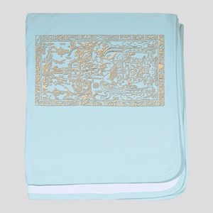 Palenque Ancient Astronaut UFO Yellow baby blanket