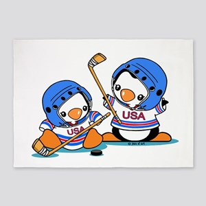 Ice Hockey Penguins 5'x7'Area Rug