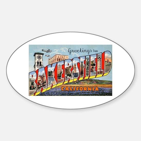 Bakersfield california greetings oval decal
